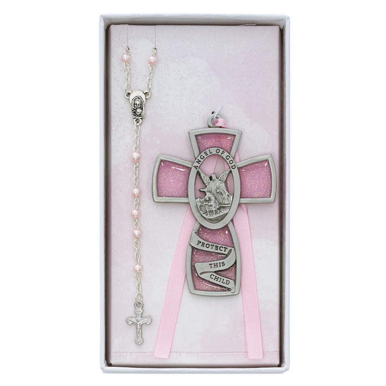 Pink Guardian Angel Crib Cross and Pink Rosary Set - Gift Boxed
