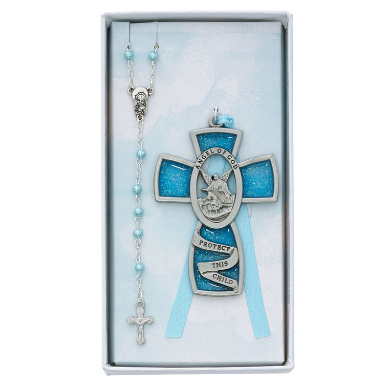 Blue Crib Cross and Pink Rosary Set - Gift Boxed