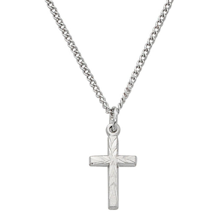 Etched Sterling Cross on Baby Chain - Gift Boxed