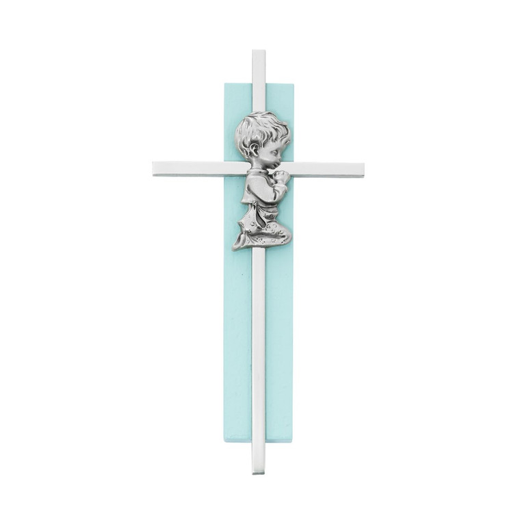 6in Blue Wood Praying Boy on Silver Cross - Gift Boxed