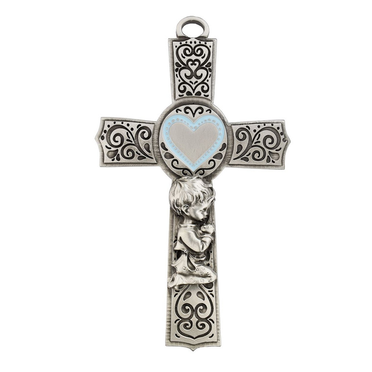 5in Pewter Baby Girl Cross - Gift Boxed