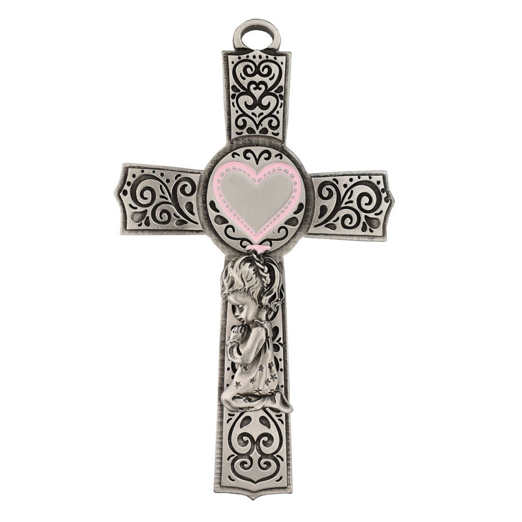 5in Pewter Baby Boy Cross - Gift Boxed
