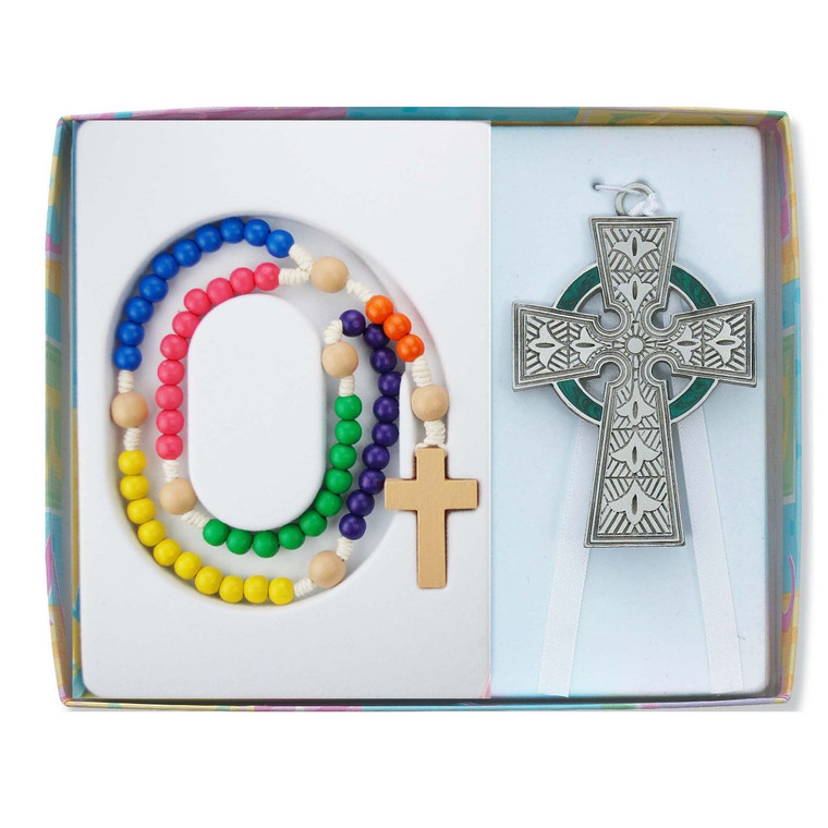 Celtic Crib Cross and Multi-color Wood Rosary Set - Gift Boxed