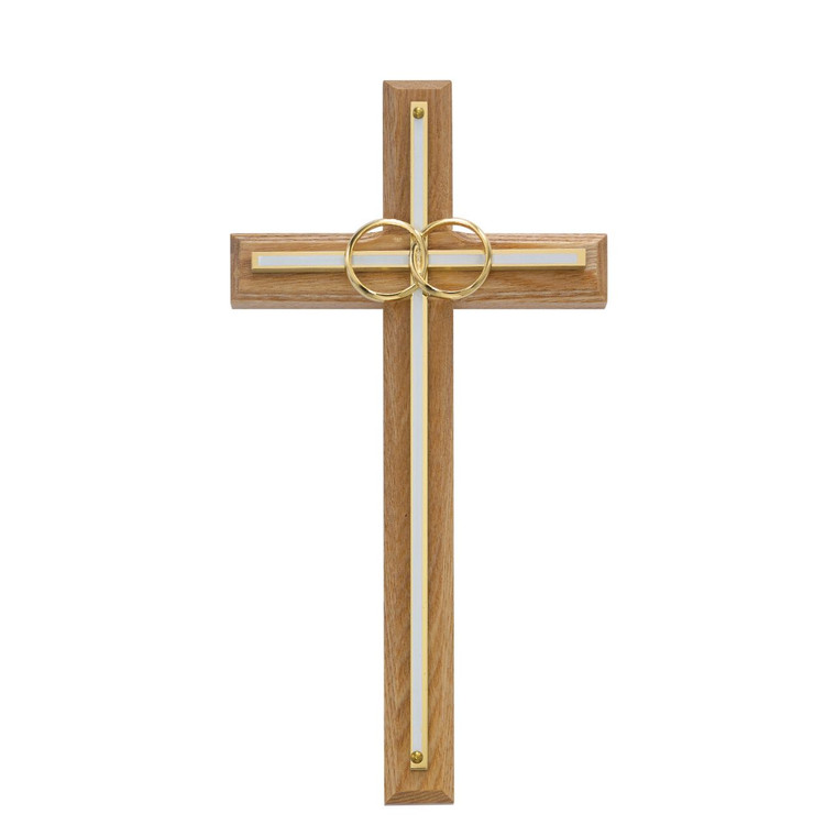 8in. Oak with Overlay Wedding Cross - Gift Boxed