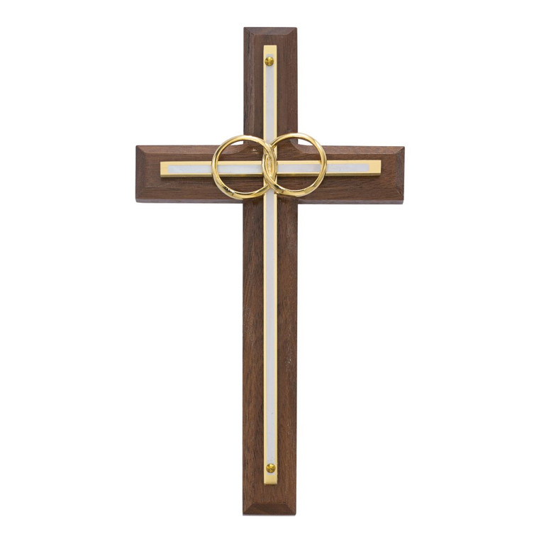 6 1/2in. Walnut with Overlay Wedding Cross - Gift Boxed