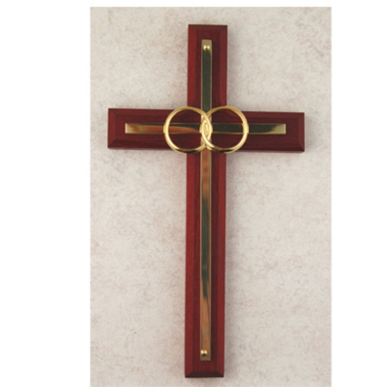 6 1/2in. Cherry and Brass Wedding Cross - Gift Boxed