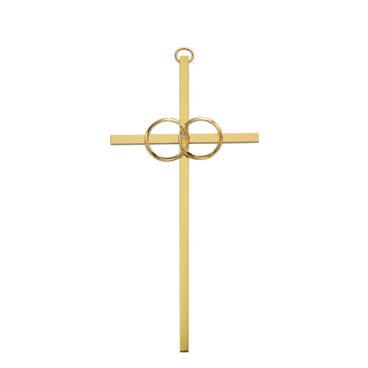 6in. Polished Brass Wedding Cross - Gift Boxed