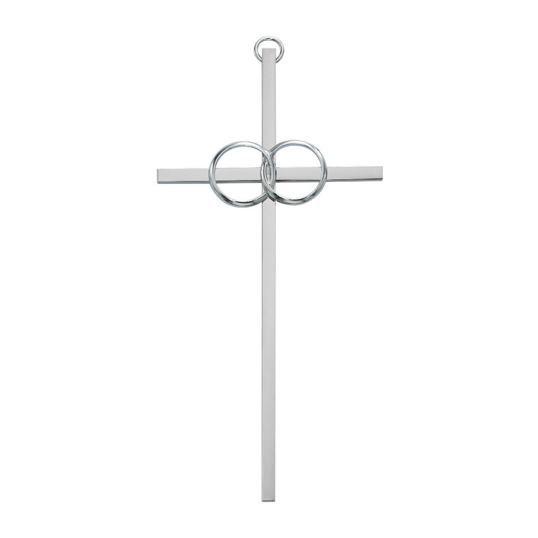 8in. Polished Aluminum Wedding Cross - Gift Boxed