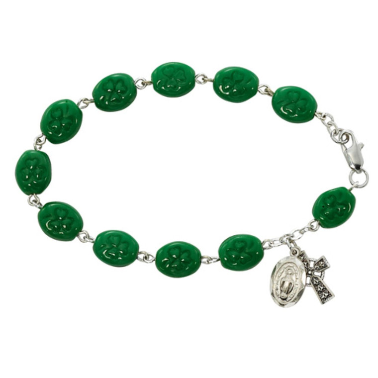 7.5in Green Shamrock Bracelet Pewter - Gift Boxed