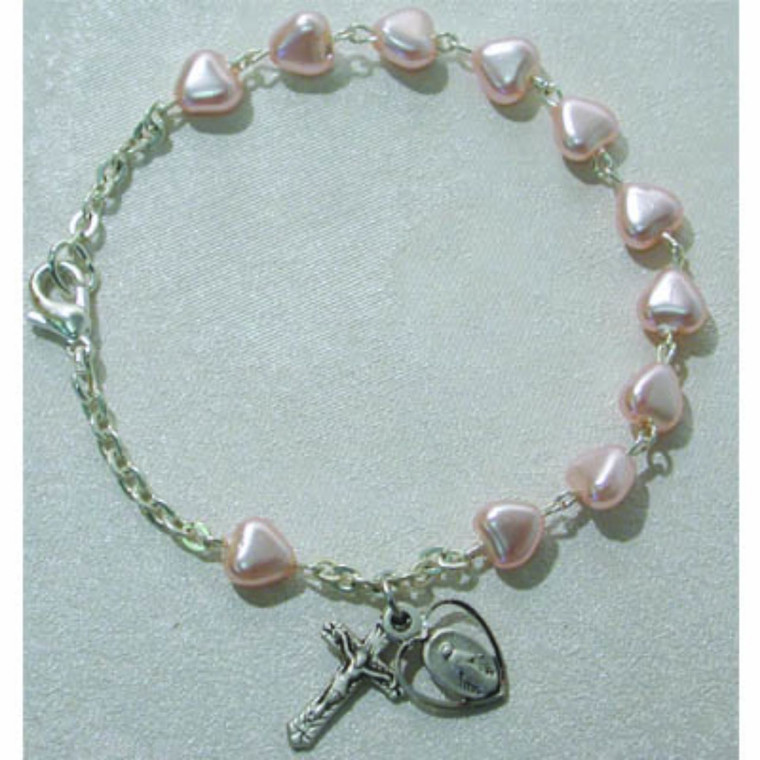 6.5 in Pink Hearts Bracelet Sterling Silver - Gift Boxed