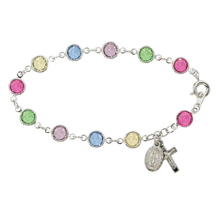 7.5in Multi Crystal Bracelet Silver Plated - Gift Boxed