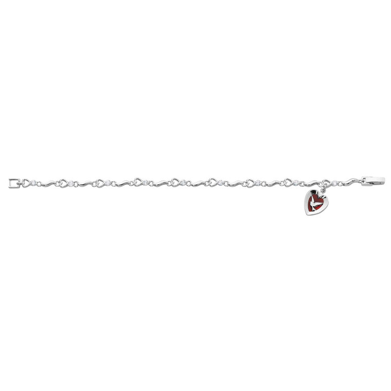7.5in Cubic Zirconia Red Epoxy Holy Spirit Bracelet - Gift Boxed