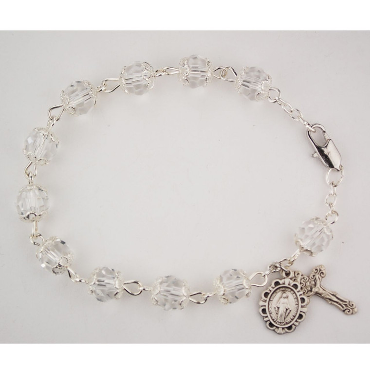 7.5in Capped Crystal Bracelet Sterling Silver - Gift Boxed