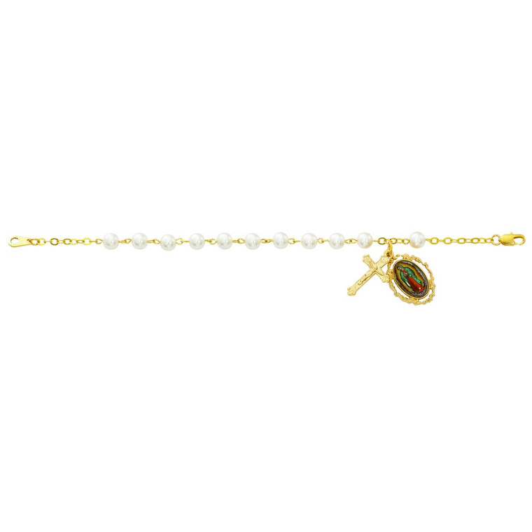 7.5in Pearl Look Guadalupe Bracelet - Gift Boxed