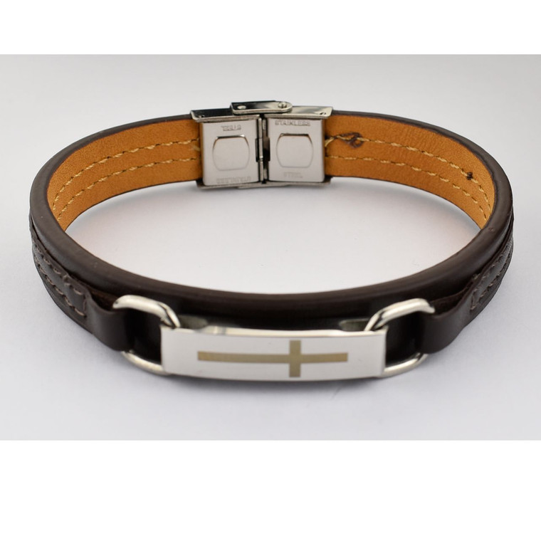 Men's Leather Bracelet and Stainless Steel Cross - Gift Boxed
