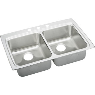 Like New -  Elkay LRADQ3322553 Gourmet Lustertone Stainless Steel Double Bowl Top Mount Quick-Clip Sink with 3 Faucet Holes