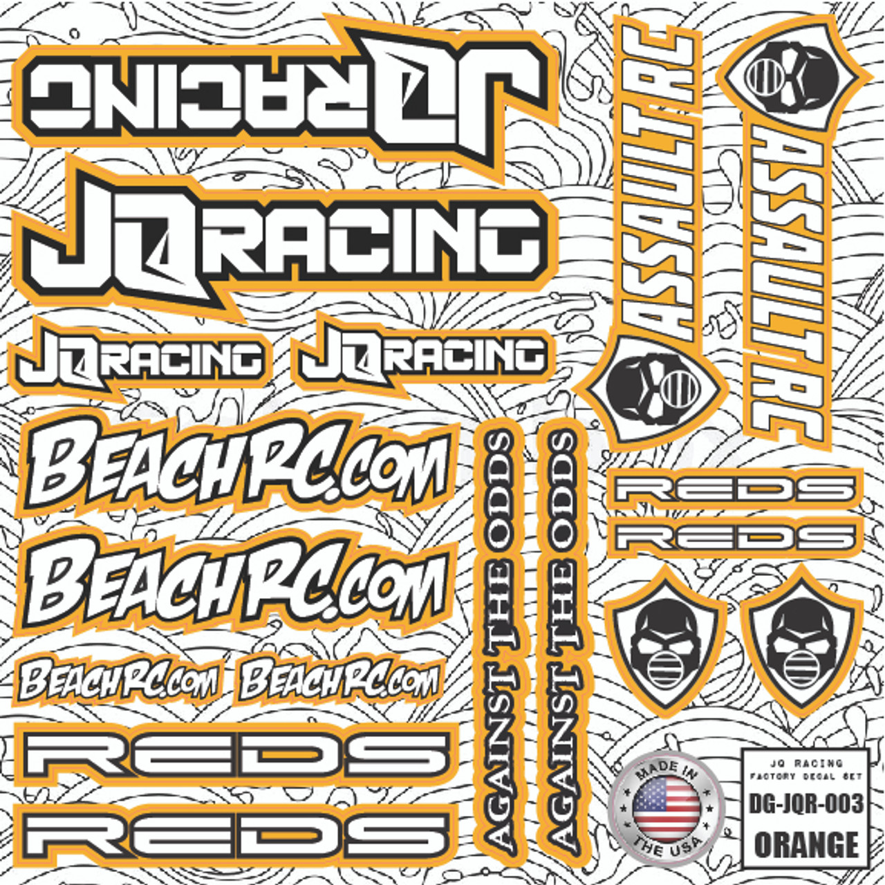 DG Designs JQ Racing Decal Sheet (Orange)