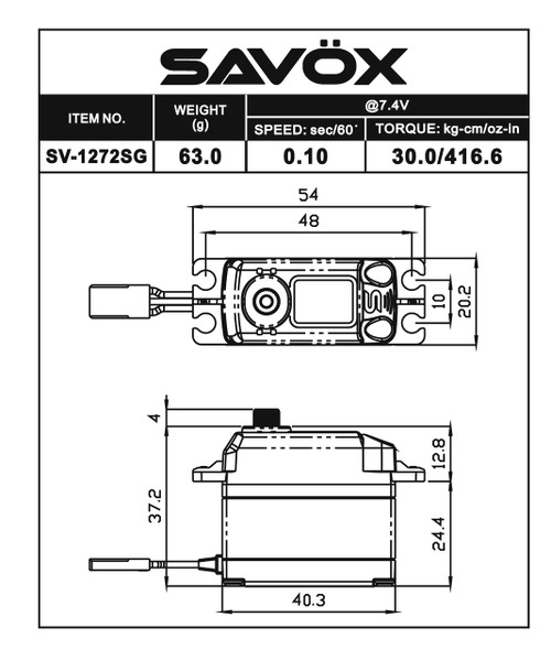 "Savox SV-1272SG Digital ""Monster Torque"" Metal Gear Servo (High Voltage)"