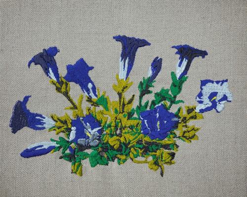 True Blue Gentian Embroidery
