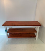 Two Shelf Bench with Stained Shelves in your Choice of Colors and Size