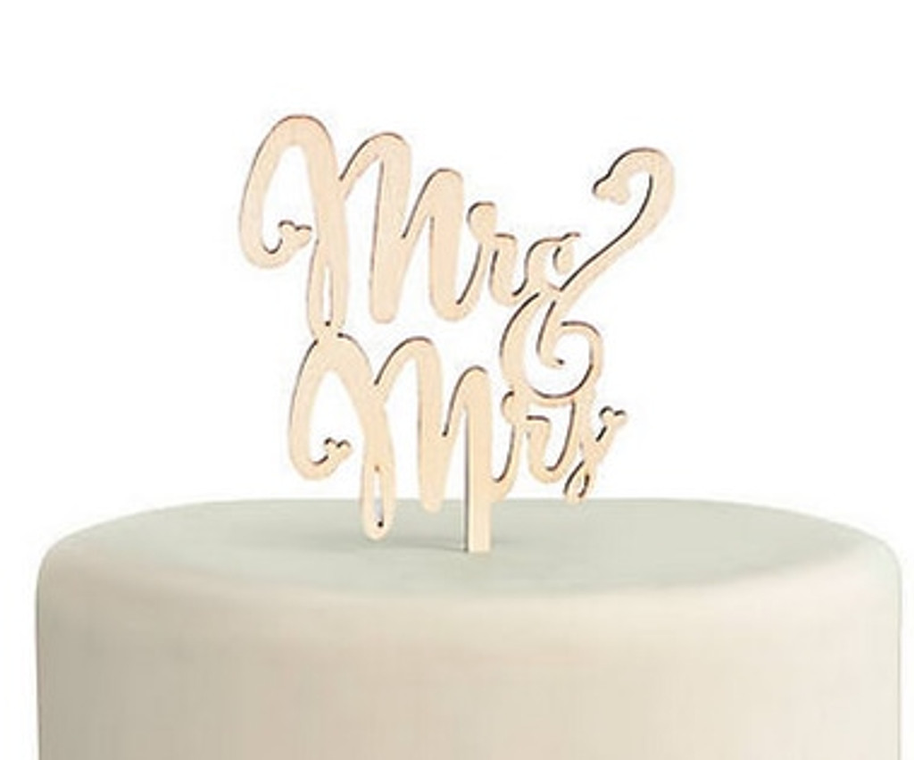 Mr. and Mrs. Wooden Cake Topper