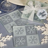 Etched Glass Snowflake Coasters (Pair), Set of 6