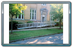 ADA Handicap Ramp Installed in Front of a Building