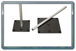 Screw fit fixed height upright. Slip fit fixed height upright with slots on top and at 3' high for side rails on a screw fit base.