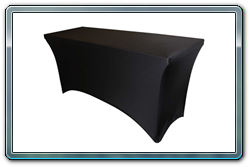 Black Spandex table cover for a 6' or 8' long x 30