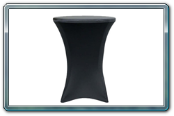 Black spandex round cocktail table cover. 30