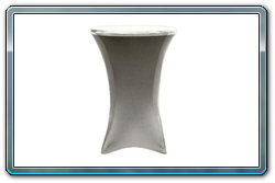 Silver spandex round cocktail table cover. 30