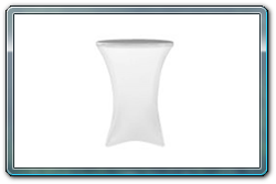 White spandex round cocktail table cover. 30