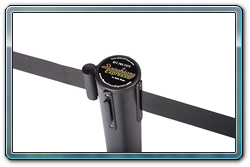 Black retractable stanchion with black belt and quick connect ends.