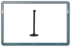 Black retractable stanchion with 10' belt.