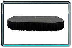 2 each 4 x 4 curved decks used with 3 each 4 x 8 decks to make a 8 x 16 stage with curved ends and skirting.