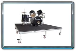 8 x 8 rolling polyvinyl drum riser with 16 inch caster legs