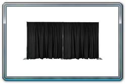 Backdrops, room dividers, dressing rooms, or convention booths. Pipe and drape has endless possibilities.