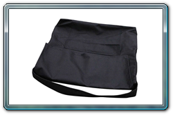 Storage bag for pipe and drape bases and pins; closed view.