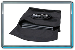 Storage bag for pipe and drape bases and pins; open view.