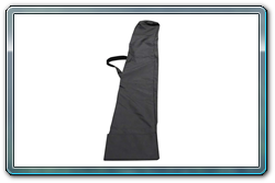 Storage bag for pipe and drape uprights and drape supports; closed view.