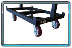 Cart base with 4 casters and upright bolted to base.