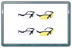 Sidewinder safety glasses. Black frames in clear or yellow lenses.