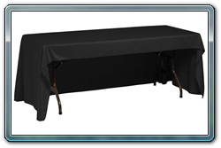Black conference cut throw cover with the back side open so you can sit behind the table.