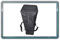 Storage bag standing on end. Good view of the carrying handles.
