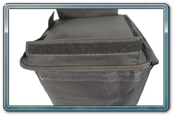 The end of the bag with Velcro for a secure fit holding your truss in the bag.