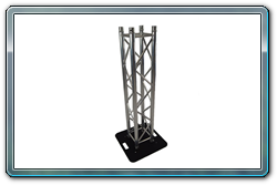 Truss totem with truss and base without spandex truss cover.