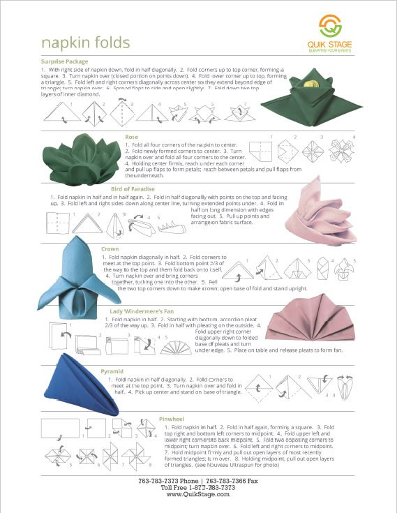 Download a PDF for Napkin Folding Instructions