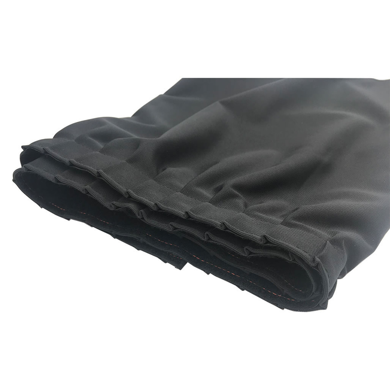 32 Inches High Best Value Black Expo Pleat Polyester Stage Skirting with Velcro. FR Rated. - Close up of Expo/Mini-Accordion Pleat.