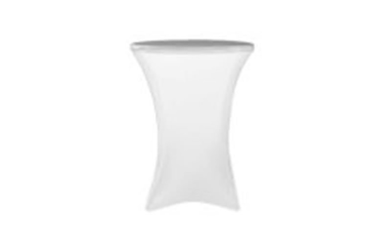 "Top rated 30"" Round x 42"" High White Spandex Cocktail Table Cover (other listing)"