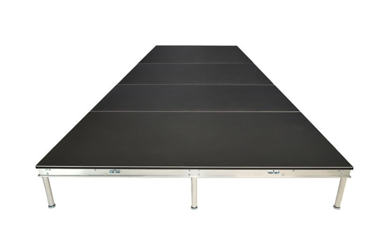 Top Rated Quik Stage 8' x 12' High Portable Stage Package with Black Polyvinyl Non-Skid Surface. Additional Heights and Surfaces Available - Front view